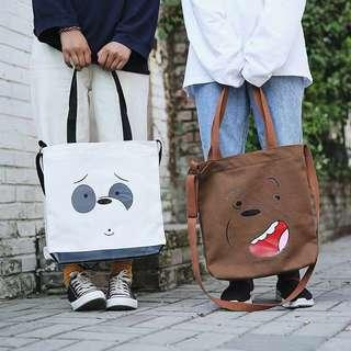 We bare bears canvas tote bag #50TXT