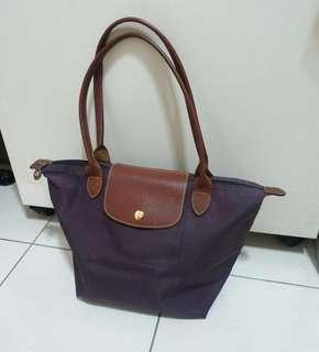 🚚 正品Longchamp紫色尼龍肩背包 水餃包 購物包