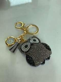 絨布鑲鑽 卡通貓頭鷹 袋錶 鎖匙扣掛件 流蘇 包包掛飾 🦉Owl pocket watch