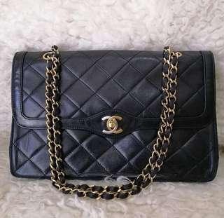 70ca593c59a4 💯Authentic Chanel Vintage Double Flap Medium 2 Tone CC Lock SC087