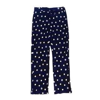 Uniqlo Women's Micro Fleece Navy Blue Snow Dot Pant