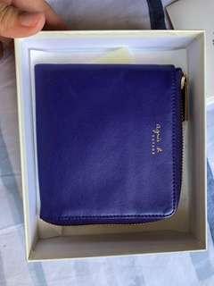 🚚 Blue leather Agnes B Wallet