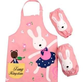 🚚 可愛粉色芭蕾兔 幼兒防水畫畫衣 罩衣 圍裙 附袖套~讓孩子安心畫畫