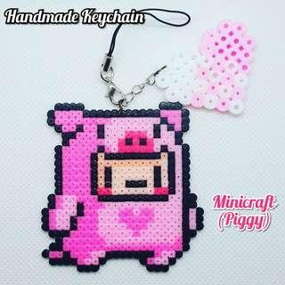 Handmade Minicraft Piggy Keychain #APR10