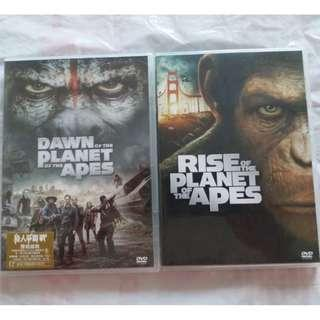 DVD 港版 猿人爭霸戰: 猩凶革命及 猩凶崛起 DVD Rise Of The Planet Of The Apes & Dawn Of The Planet Of The Apes