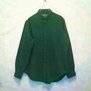 三件7折🎊 Ralph Lauren Polo 襯衫 長袖襯衫 綠 法蘭絨 小馬 極稀有 老品 復古 古著 Vintage