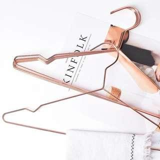 Rose gold solid iron metal hangers- set of 5
