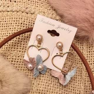 全新正韓 金色愛心藍粉🌸花朵耳環