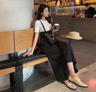 🚚 S5871韓版時尚 打底衫+背帶闊腿褲 二件套 上衣$390 闊腿褲$820