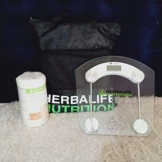 Herbalife Scale, Gym Mat and Protein Shake