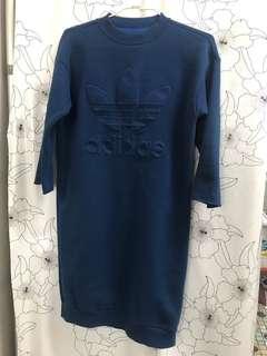 Adidas藍色七分袖長洋裝 韓國購入