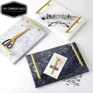 INSTOCK [3 colours] Solid Marble Tray with Gold Handles