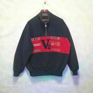 三件7折🎊 Versace 半拉鍊長袖 大學T 長T 深藍紅 極稀有 義大利製 老品 古著 復古 Vintage