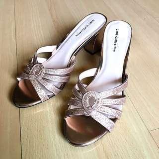 Gibi Collection Lizbeth Rosegold Heeled Sandals