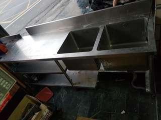 訂做厚板純白鐵雙水槽+油水分離槽