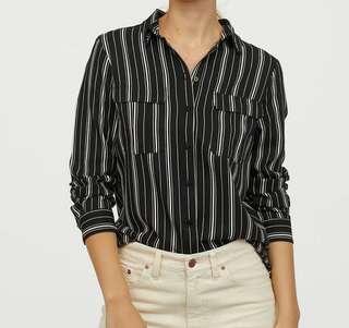 Kemeja H&M - Black Stripes Shirt by H&M