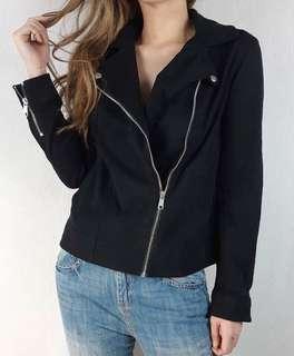 Black Jacket - Twill Motto Jacket - Jaket motor