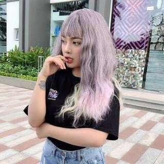 🚚 Cosplay long hair wig with gray, pink and blond color (Instock)
