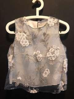 Zara top with flower embroidery