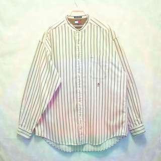 三件7折🎊 Tommy Hilfiger 襯衫 長袖襯衫 米 直條紋 亨利領 極稀有 新加坡製 老品 復古 古著 Vintage