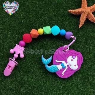 Handmade customised Rainbow beads Pacifier Clip + Mermaid Teether Combo