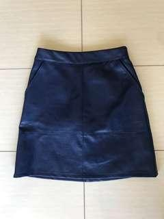 Blue faux leather A-line skirt with pockets size 6 or 8