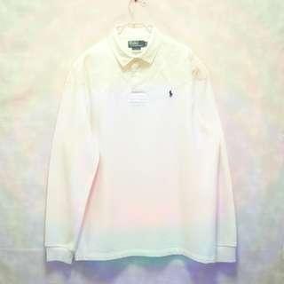 三件7折🎊 Ralph Lauren Polo polo衫 長袖 米白 小馬 極稀有 斯里蘭卡製 老品 復古 古著 vintage
