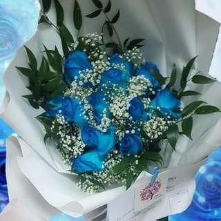 Blue Roses Hand Bouquet