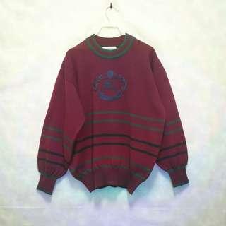 三件7折🎊 Burberry 毛衣 針織毛衣 酒紅 條紋 大電繡logo 極稀有 蘇格蘭製 老品 復古 古著 Vintage