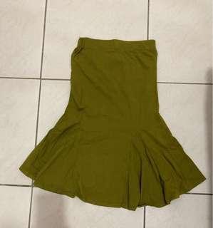 二手平口綠色洋裝