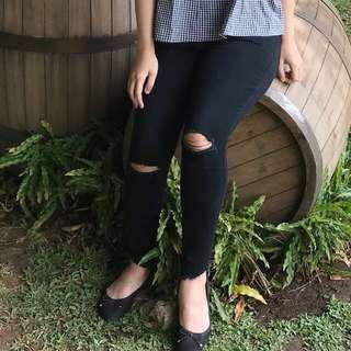 Ripped jeans black high waist