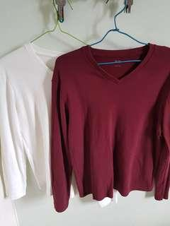 Uniqlo long sleeve v neck t shirt