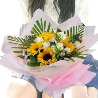 Sunflower With White Roses Hand Bouquet
