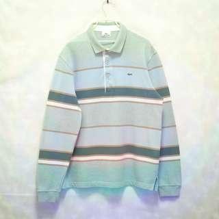 三件7折🎊 Lacoste polo衫 長袖 條紋 淺色系 電繡logo 極稀有 老品 復古 古著 vintage
