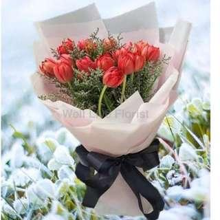 Red Color Tulips Hand Bouquet