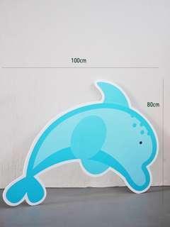 🚚 Blue Dolphin Sea Animals Creatures Foamboard Floor Standee for Rent