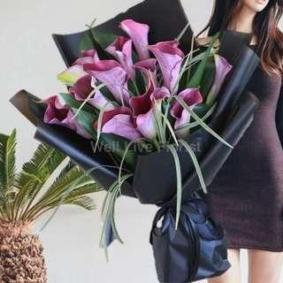 Purple Calla Lilies Hand Bouquet