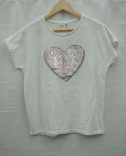 正韓 韓製 芭比風 白色 亮片 造型 短袖T(1001)