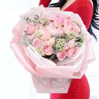 Pink Roses Mix With Hydrangea & Tulips Hand Bouquet