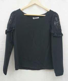 正韓 韓製 東大門 超美款 設計款 手袖黑色亮片造型 長袖上衣(1001)