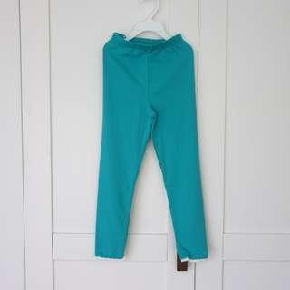 🚚 [Size 110 For Age 4-5 / Older] Girls' / Kids' / Children's Greenish-Blue / Green-Blue / Cyan / Aqua / Turquoise Colour Cotton Leggings Tights