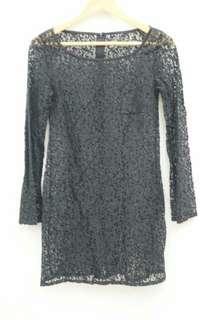 女神款 超美超仙 黑色 透肌膚 蕾絲長上衣洋裝 (1001)