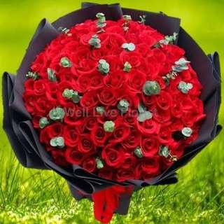 99 Stalk Red Roses Hand Bouquet