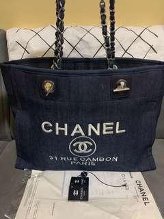 Preloved Chanel Rue Cambon Denim Large Chain Tote Shoulder Bag