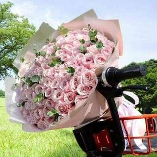 99 Stalk Pink Roses Hand Bouquet