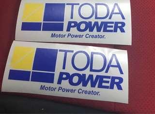 2 x Toda Power car sticker