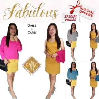 Setelan 2in1 45764 Stelan Dress + Outer Candy Batwing