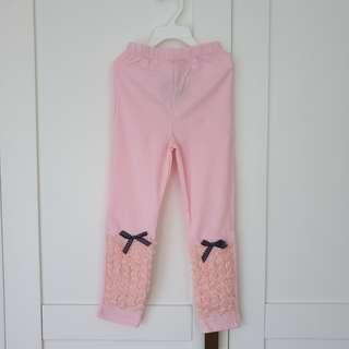 🚚 [Size 110 For Age 4-5 / Older] Girls' / Kids' / Children's Pink Colour Cotton Leggings Tights