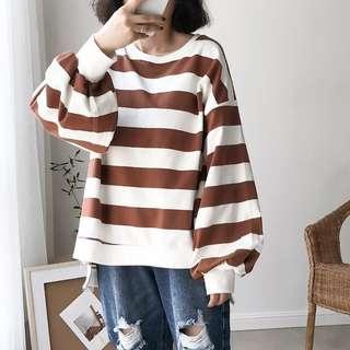 🚚 春夏 🌸 超可愛 燈籠袖 巧克力色條紋 前短後長 寬鬆 上衣 咖啡色 泡泡袖 開衩 寬條紋