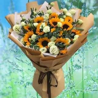 Sunflower Large Hand Bouquet Mix With White Eustoma